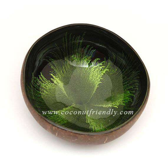Green flowers inlay the Natural coconut shell bowls wholesale