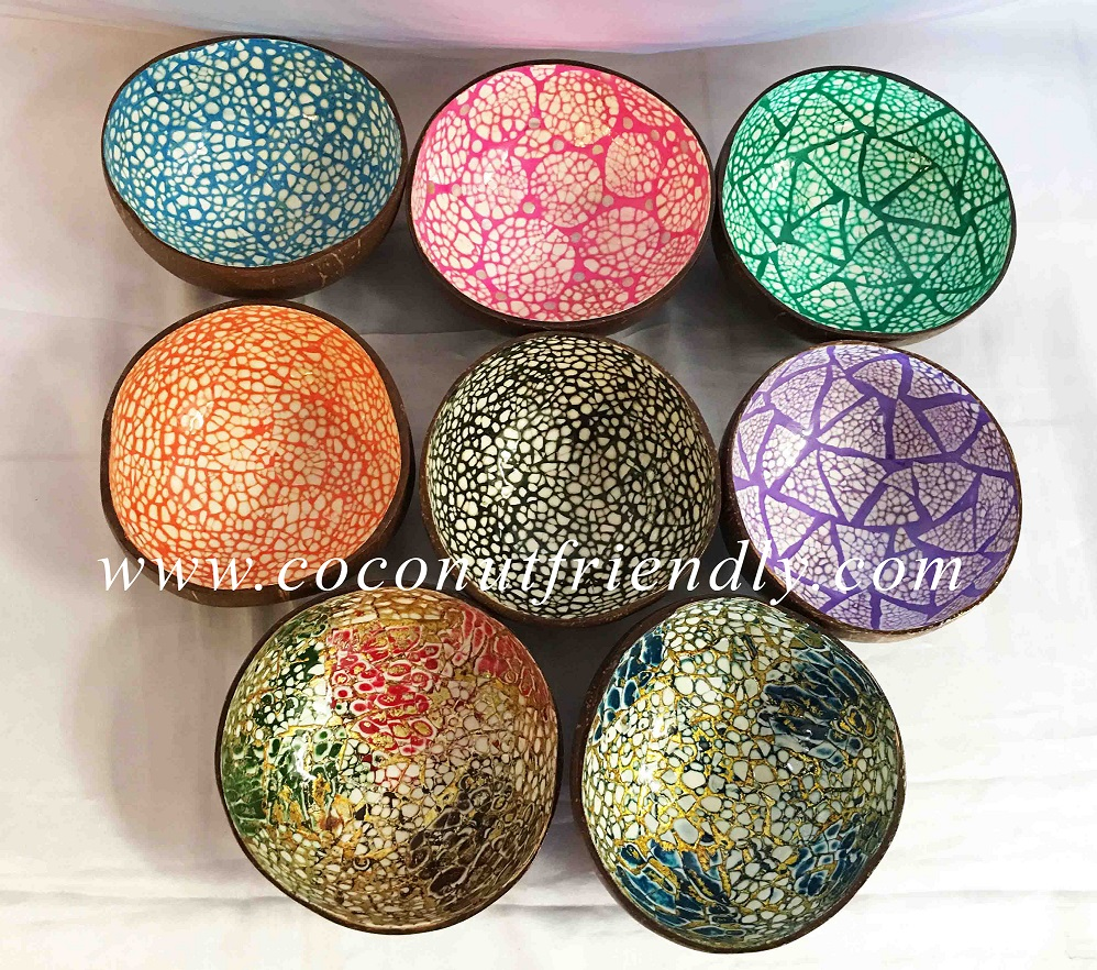 Inside Yellow Egg Shell Design Coconut Bowl, Colored Lacquer Bowl