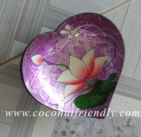 Heart Shape handpainted lacquer coconut bowls Wholesale cheap price