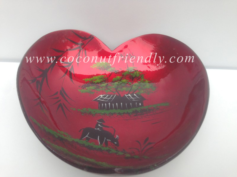 Cheap Heart Shape Coconut Bowl, Lacquer coconut shell Bowl from Vietnam Manufacturer Direct Sale
