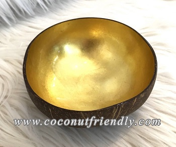 Metallic Coconut Bowl , Wholesale Lacquer Metallic coconut shell bowls