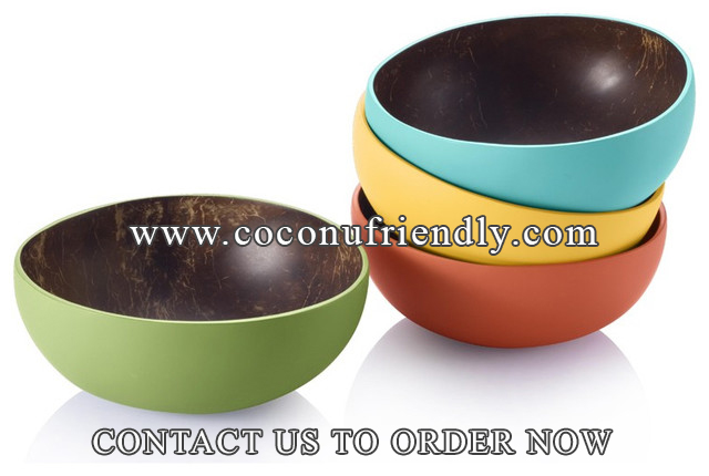 Vietnam Coconut bowls wholesale , Lacquer Coconut bowls for thailand markets