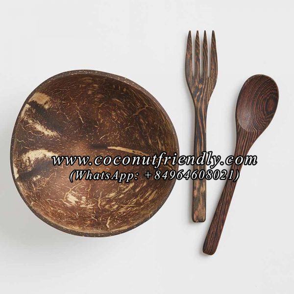 GiveMeCocos Handcrafted,High Quality Coconut Bowl and Wooden Spoon with Quote