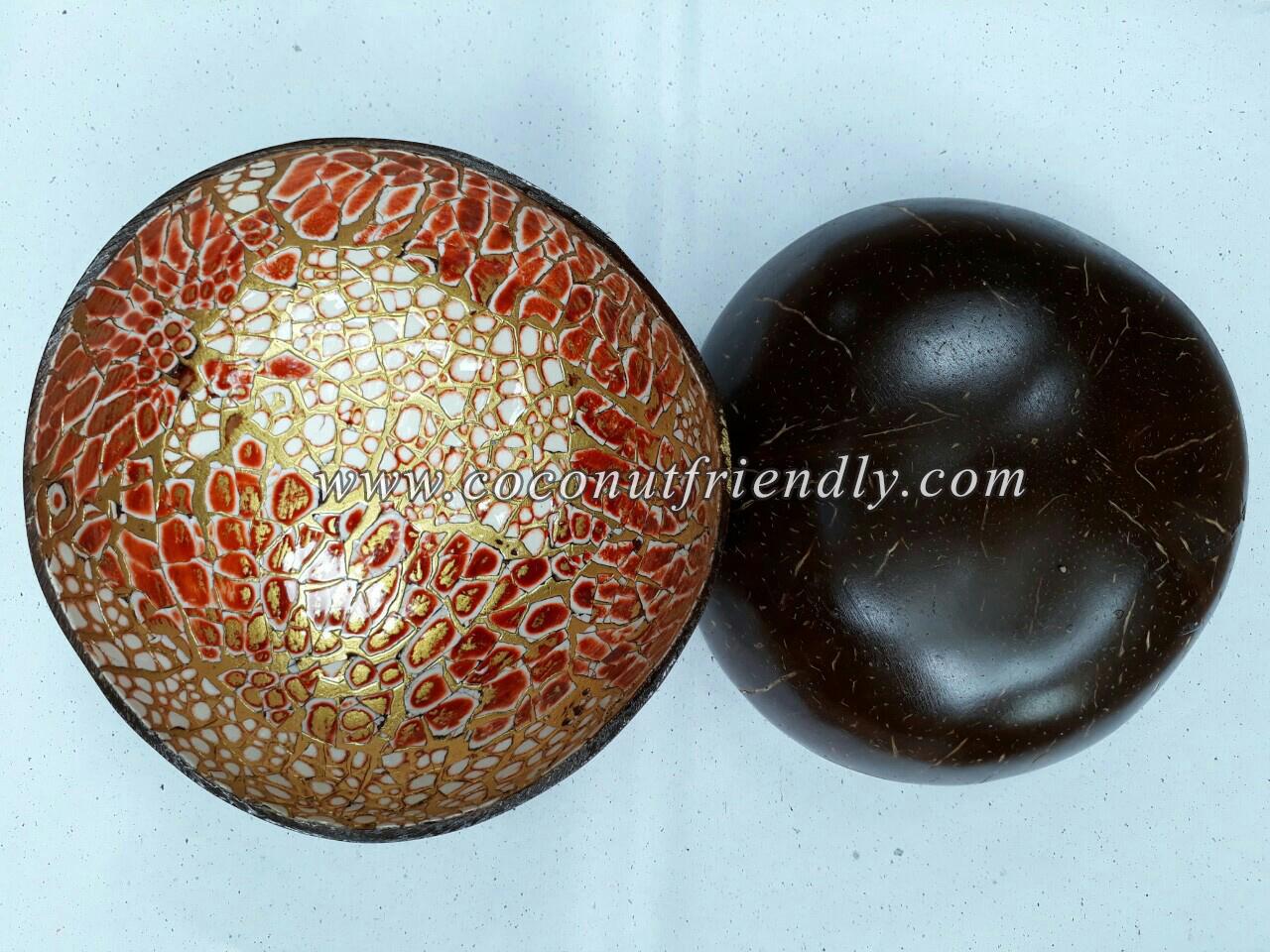 Wholesale Vietnam lacquer coconut bowl with eggshell inlay , Lacquer coconut bowls Wholesale