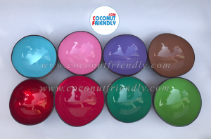 Lacquered Coconut bowls vietnam , Wholesale Metallic Coconut Bowls