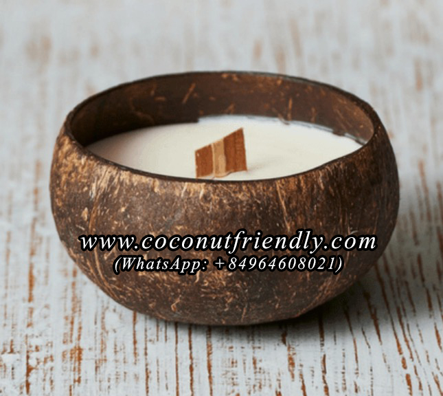 Wholesale Coconut Shell Candle , Coconut Soy Wax Candle Wooden Wick Vietnam