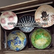 Lacquer coconut shell bowl in vietnam