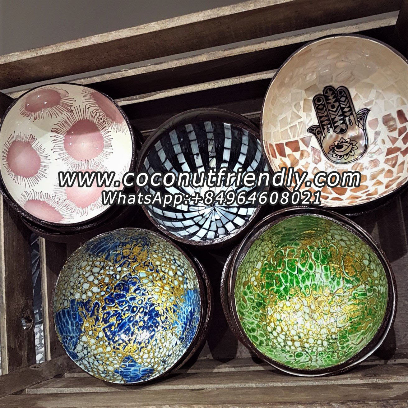 Lacquer coconut bowl made in Vietnam