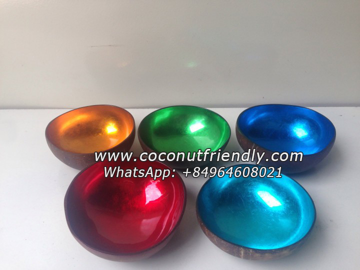 Eco-friendly Handmade Metallic Lacquer Coconut Bowls from Vietnam