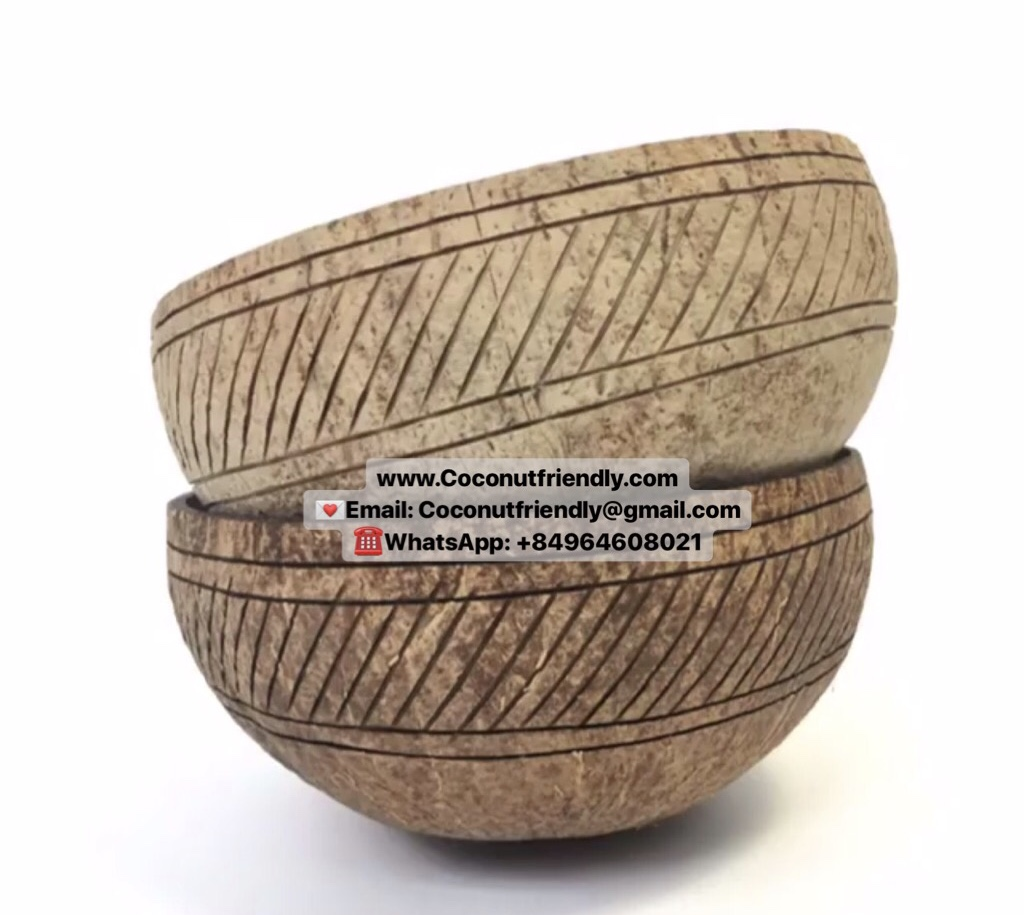 Set Coconut Bowls and Coconut Spoons with High Quality and Hand-Crafted