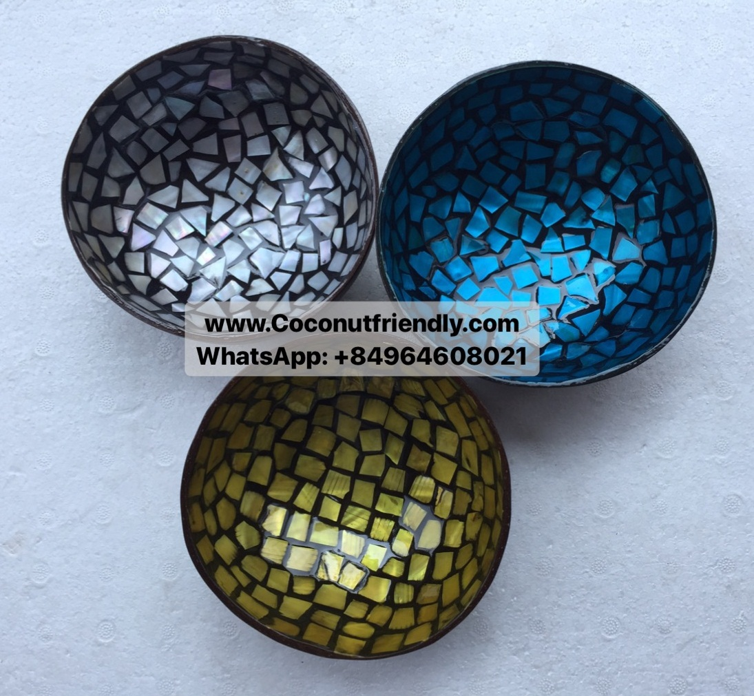 Cheap and high quality lacquer coconut shell bowls for decoration, shiny colour with firework design, eco-friendly, high quality