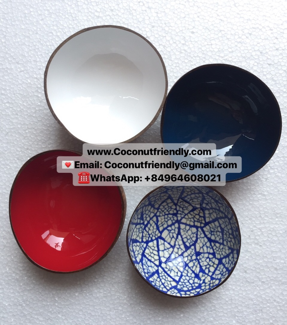 Viet Nam High Quality 2019 Lacquer Coconut Shell Bowl Varios Color Wholesale Price
