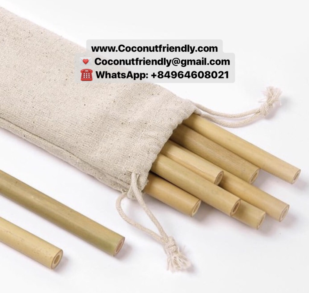 100% Natural bamboo drinking straws with bag / organic bamboo straw factory from Vietnam