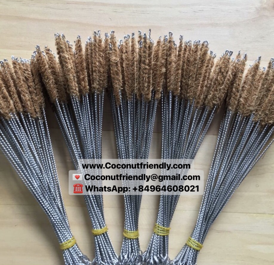 WHOLESALE NATURAL COCONUT FIBRE BRUSHES BAMBOO STRAWS