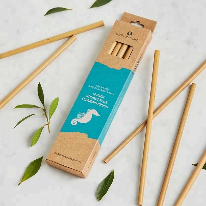 Wholesale 20cm Bamboo Drinking Straw Reusable Natural Drinking Straws Custom Logo Branding