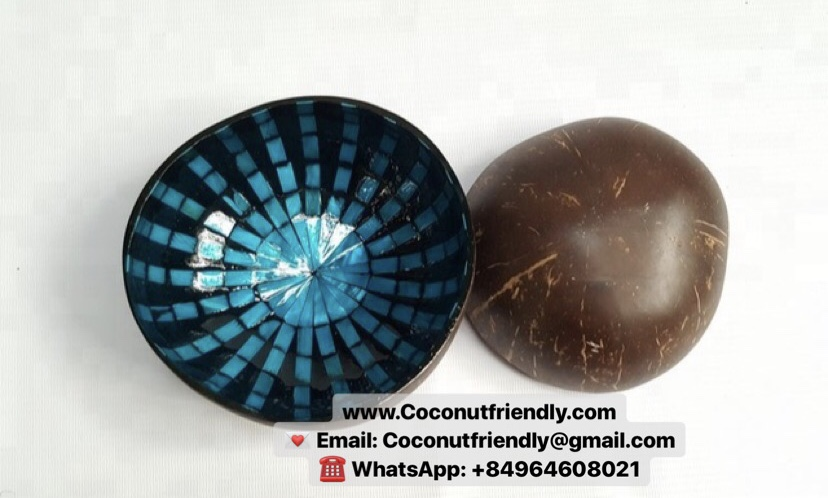 Vietnam coconut shell bowl with mother of pearl inlaid