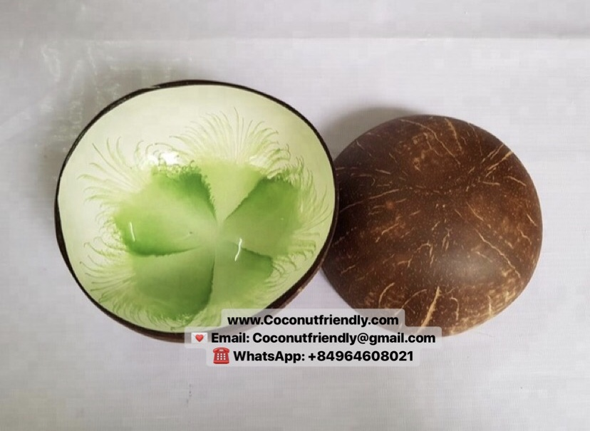 Vietnam lacquer coconut bowl green flower