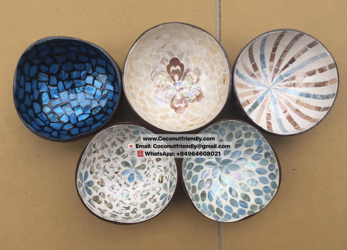 Handmade wholesale Seashell coconut lacquer bowls from Vietnam