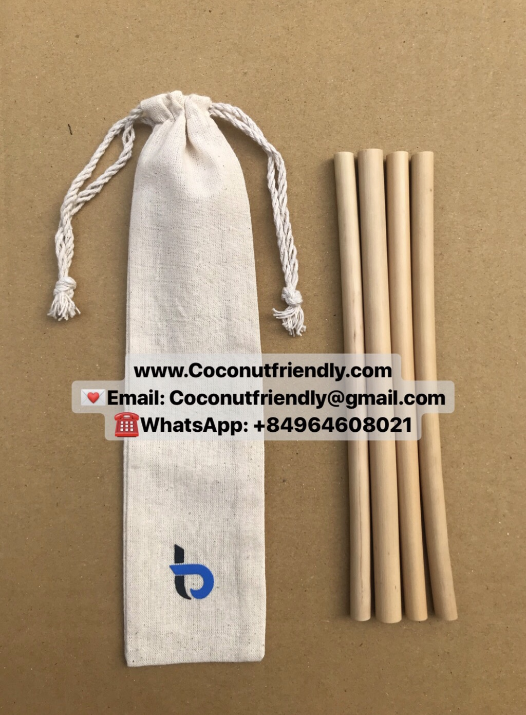 Wholesale Natural Bamboo Straws with Jute Bag and Pouch Set of 12 Logo