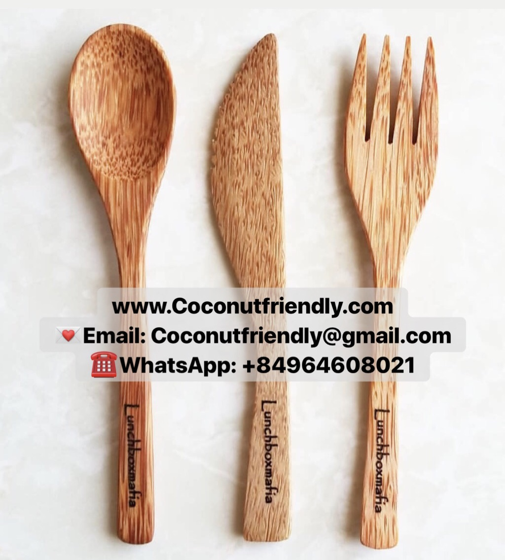 Coconut Cutlery with Logo , Coconut Spoons Forks and Coconut bowls vietnam