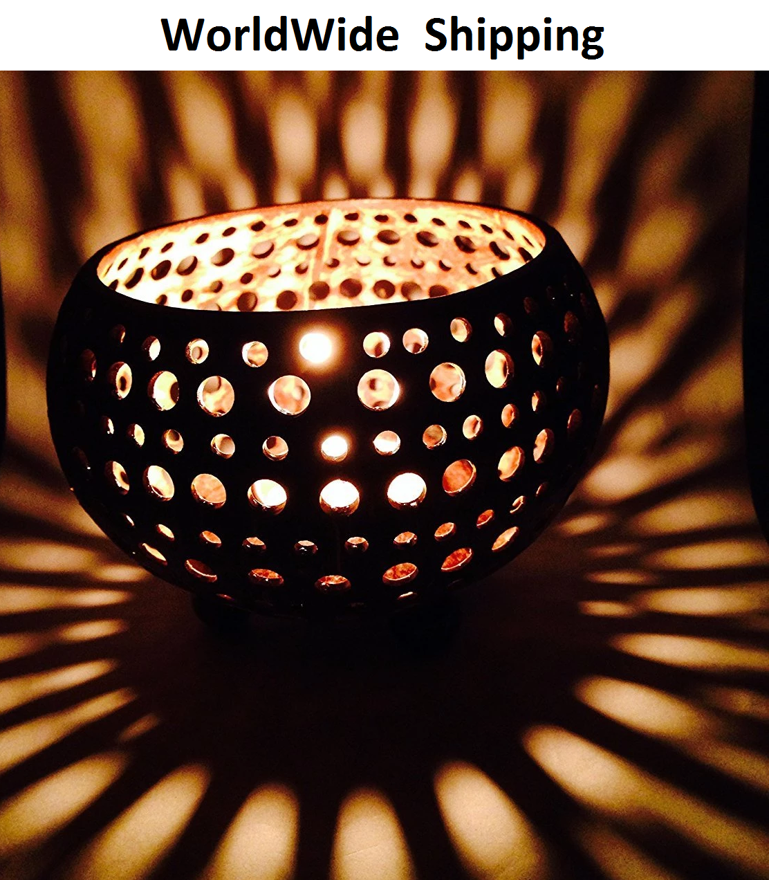 Vietnam Handmade Coconut Shell Tea Light Candle Holder Wholesale
