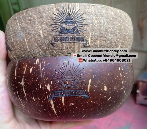 Logo coconut shell bowl organic bowls set handmade wholesale low cost