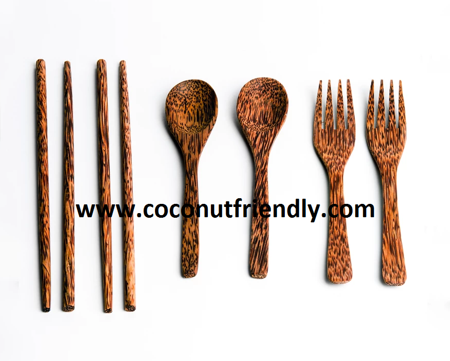 Wholesale cheap price Coconut Utensils , Coconut spoons forks knives coconut chopsticks vietnam handmade