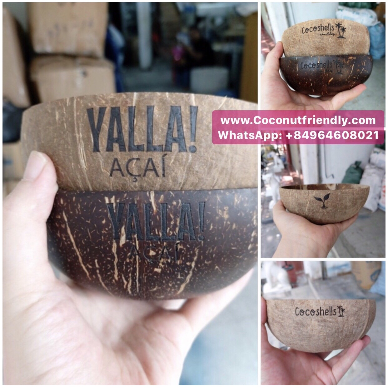 100% Natural Customized Logo Polished Coconut Shell Bowl and coconut spoon from Vietnam