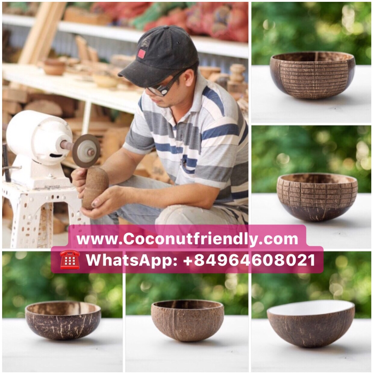 100% Natural Round Coconut Bowl, Factory Reusable Handmade