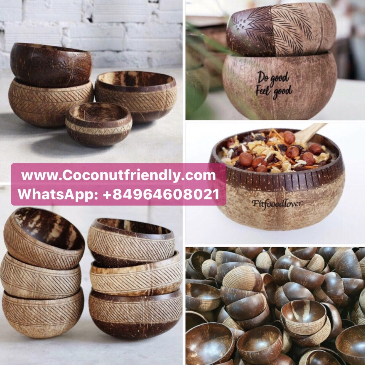 Best selling cheap price Hand Carved Coconut bowl salad, fruits or icream