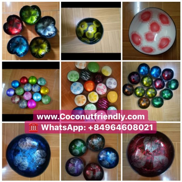 Vietnam lacquered coconut bowls, decorative serving bowl whole sale