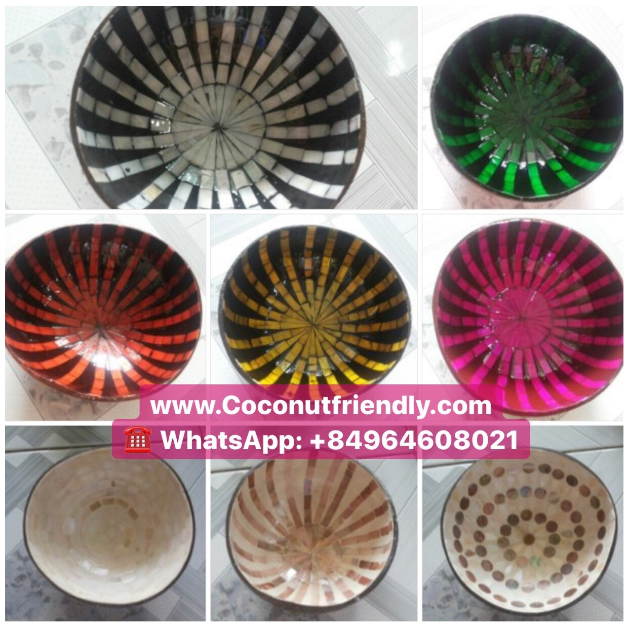 Vietnam natural mother of pearl inlaid lacquer coconut bowl for wholesale