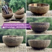 Combo Set Coconut Shell Bowl, Coconut Shell Spoon from Vietnam