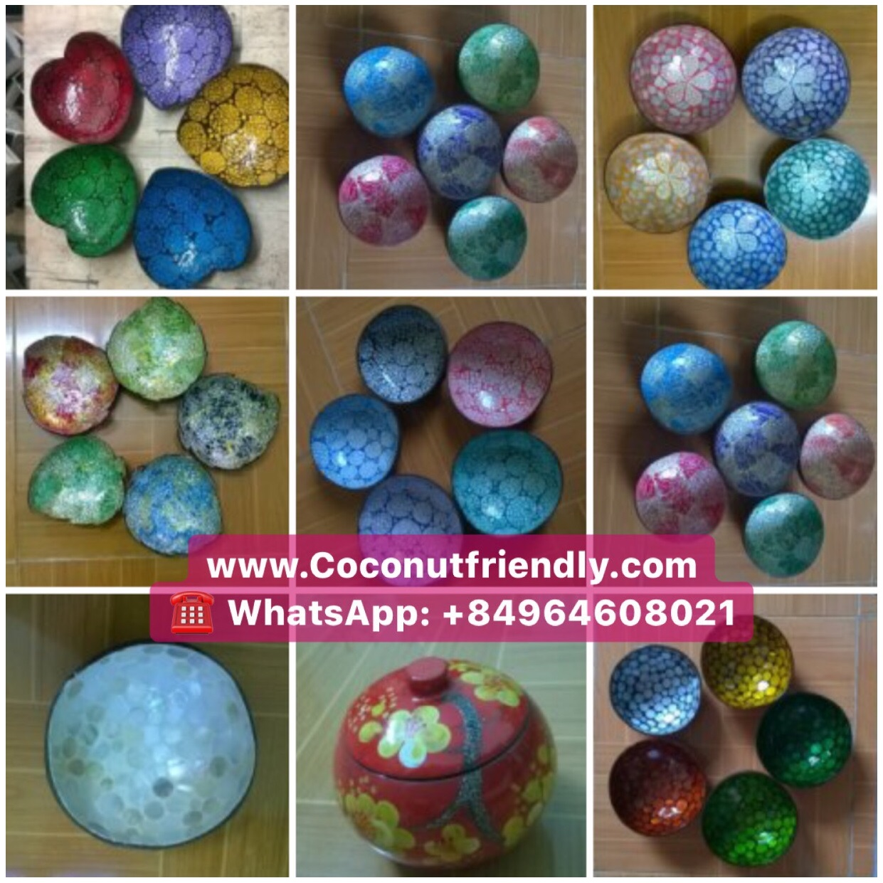 Mosaic Mother of Pearl Lacquer Coconut Bowls from Vietnam Manufacturer Direct Sale