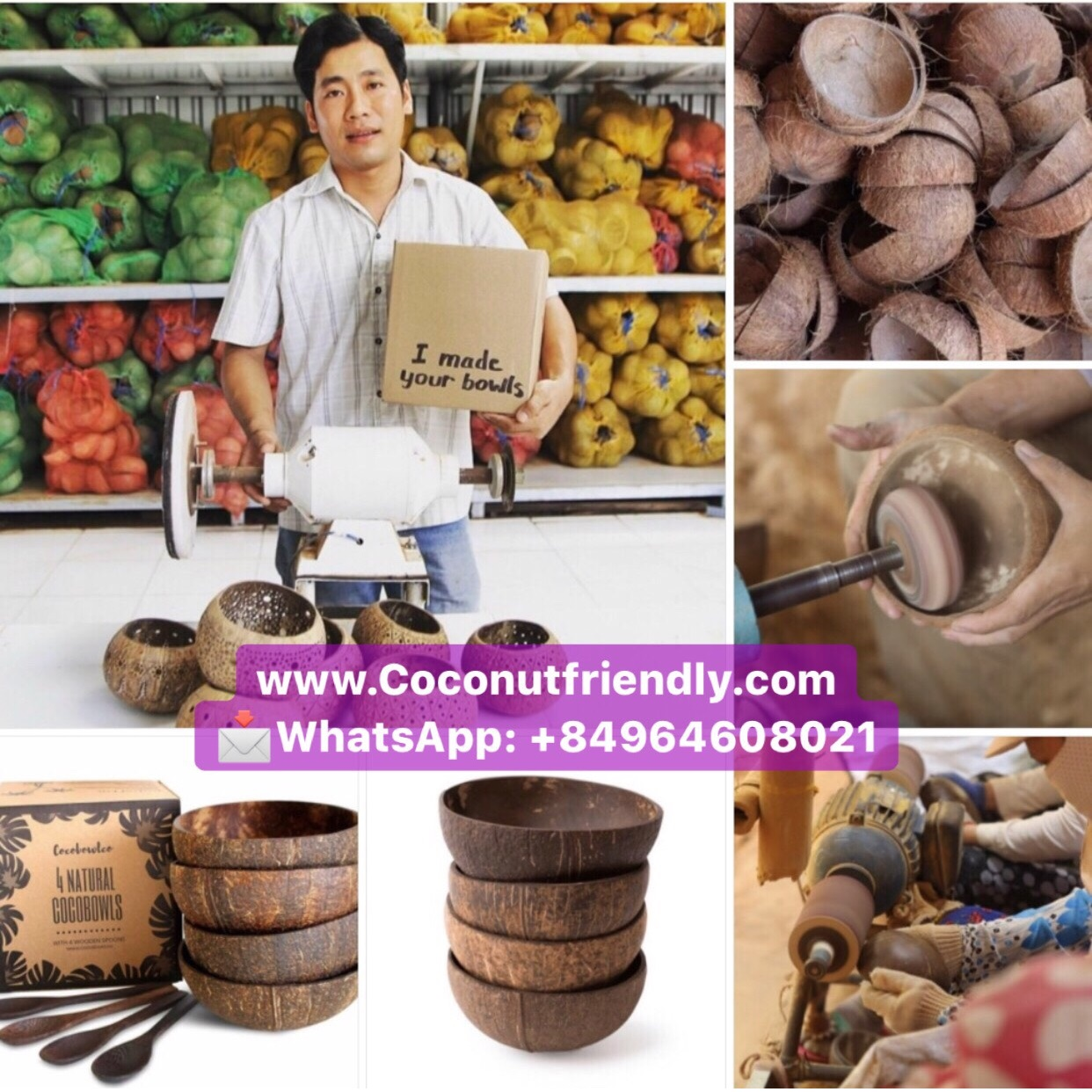How To Make Coconut bowls and spoons Vietnam sets in Kraft box food safe FDA