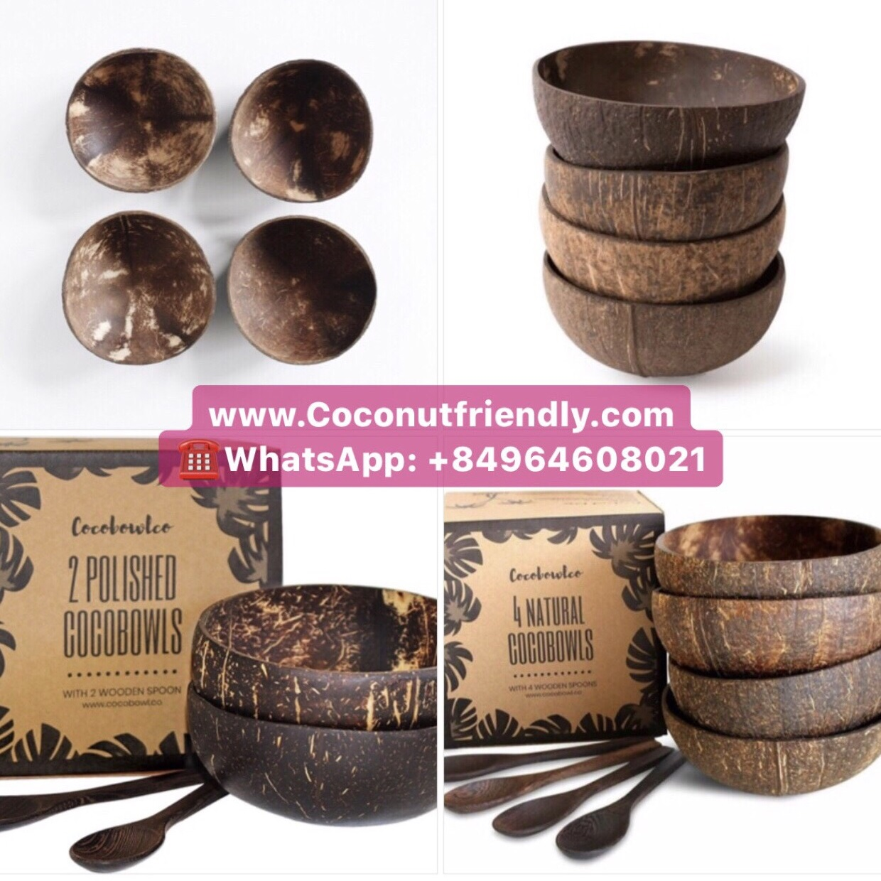 Set Coconut Bowls and Ebony Spoons with High Quality and Hand-Crafted Vietnam