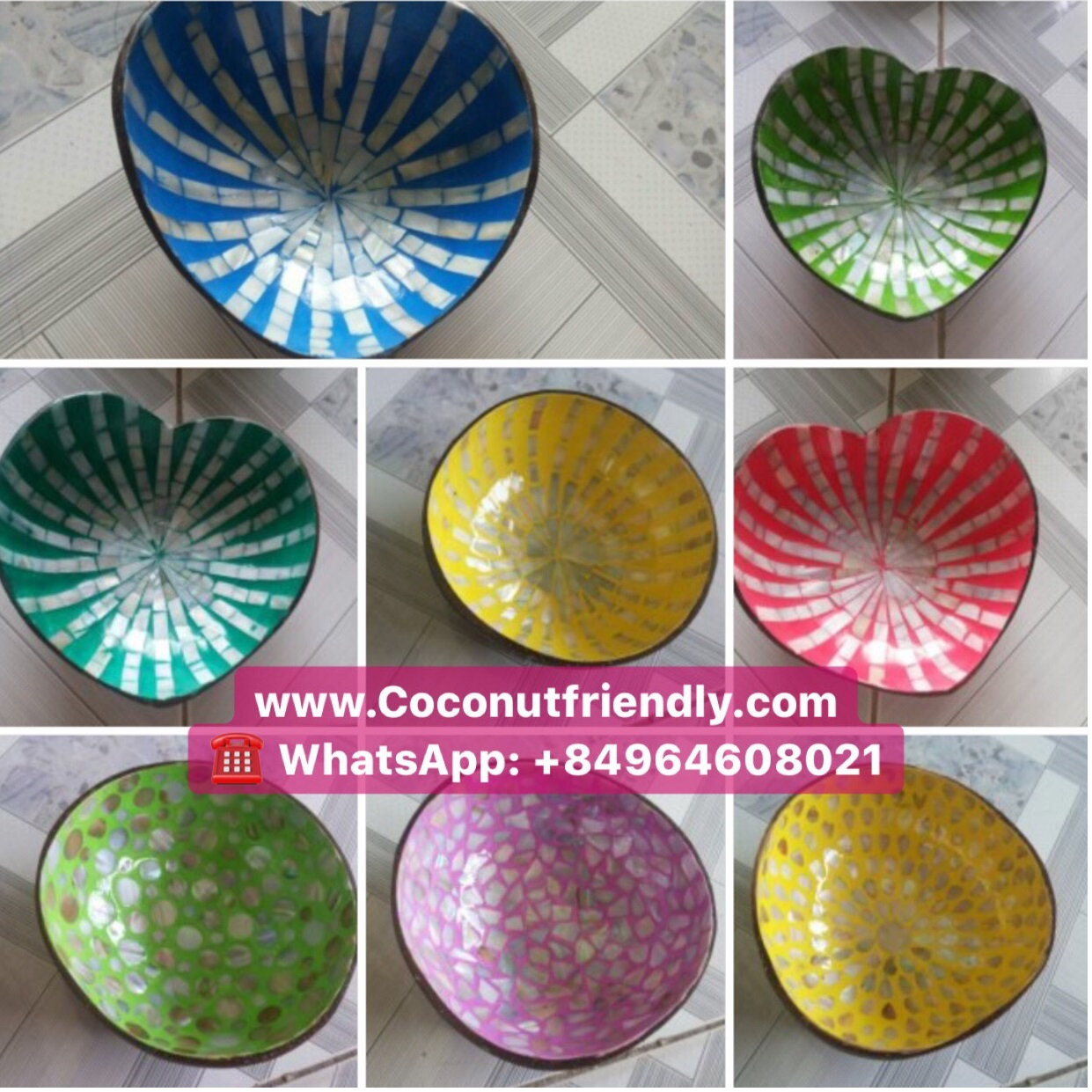 Vietnam lacquered coconut bowls, decorative serving bowl whole sale
