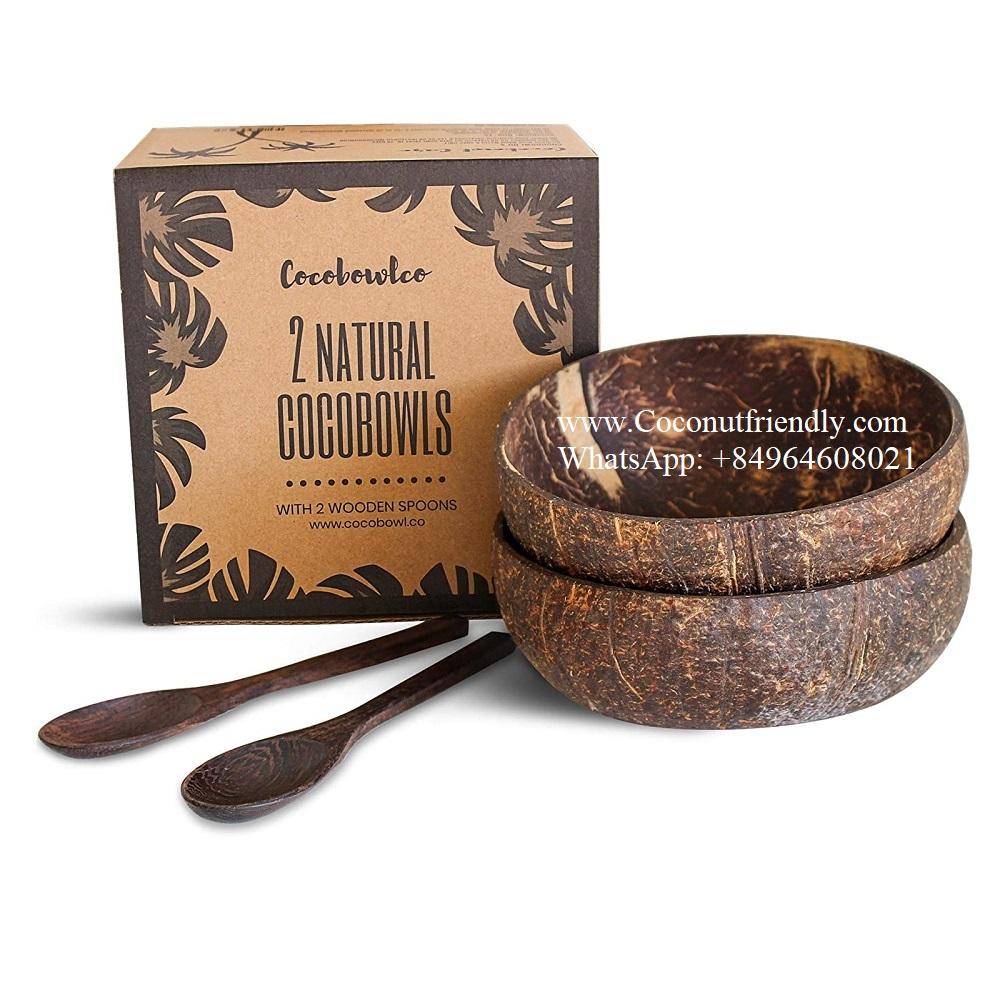 Combo Set 2 Kokosnuss schalen 2 Dark ebenholz coconut löffel 2 gabeln in Handwerk box