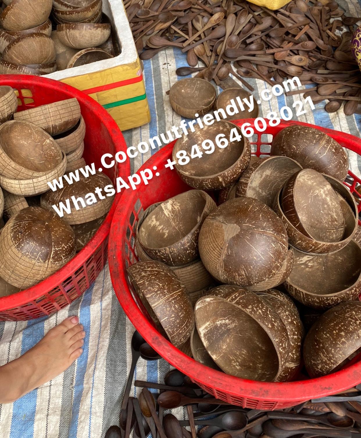 Hand Carved Boho Logo Coconut Bowls Manufacturer Vietnam