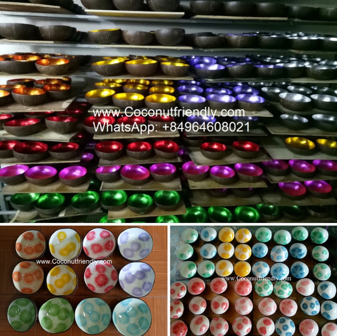 Décor de bol en coquille de noix de coco en laque en france, Hand painted Lacquer Coconut bowls vietnam manufactuer